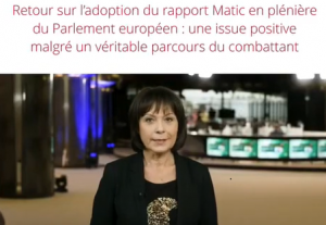 Retour sur l'adoption du rapport Matic en plénière du Parlement européen : une issue positive malgré un véritable parcours des combattants